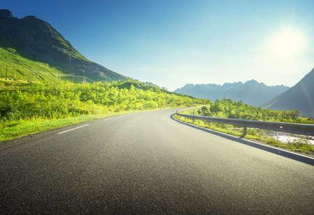 summer road in mountain, Lofoten islands, Norway 写真素材