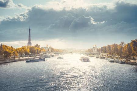 Alexander III bridge and Eiffel tower, Paris, France 写真素材 - 155740795