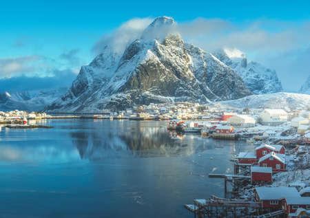 snow in Reine Village, Lofoten Islands, Norway 写真素材 - 155318234