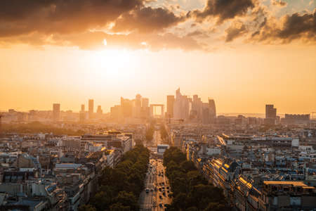 Paris view from Arc de Trimphe, France 写真素材 - 155740821