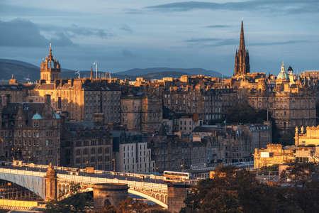 Edinburgh city skyline from Calton Hill., United Kingdom 写真素材 - 155740341