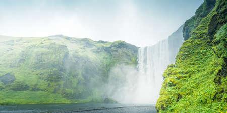 Skogarfoss waterfall and summer day, Iceland