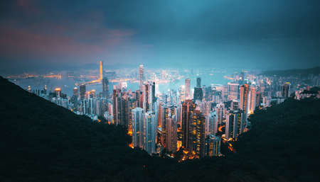 Hong kong from the Victoria peak 写真素材 - 155740527