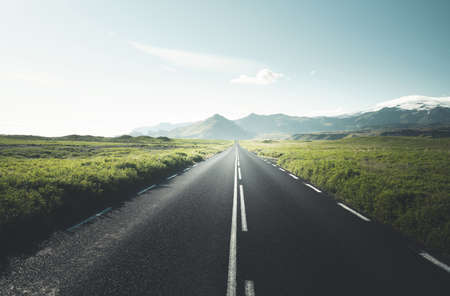 road in summer sunny Iceland 写真素材 - 155557005