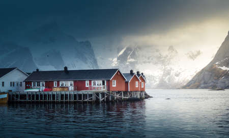 Hamnoy fishing village, misty spring time, Lofoten Islands, Norway