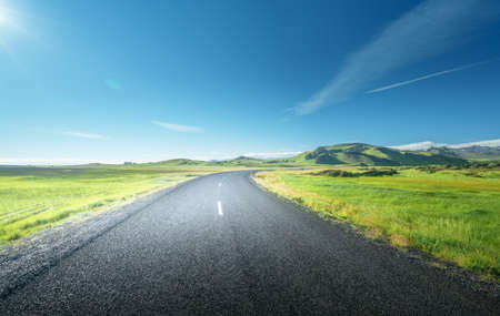 road in summer sunny Iceland 写真素材 - 155557330