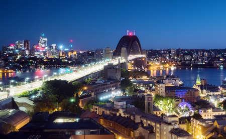 Aerial view of Sydney with Harbor Bridge, Australia 写真素材 - 155743116