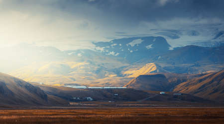 view from mountain, summer sunset, Iceland 写真素材 - 155556955