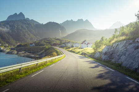 road and mist, Lofoten islands, Norway 写真素材 - 155557442