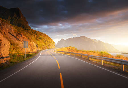 road by the sea in sunrise time, Lofoten island, Norway 写真素材 - 155556823