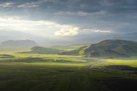 view from mountain, summer sunset, Iceland 写真素材 - 155743122