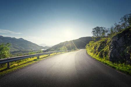 summer road in mountain, Lofoten islands, Norway 写真素材 - 155556977
