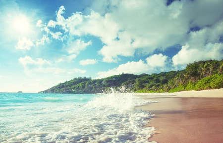beach in sunset time, Mahe island, Seychelles 写真素材