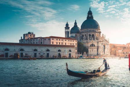 Gondola and Basilica Santa Maria della Salute, Venice, Italy Stock Photo