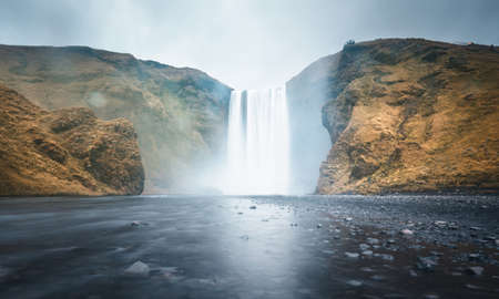 Skogafoss waterfall, autumn time, Iceland 写真素材