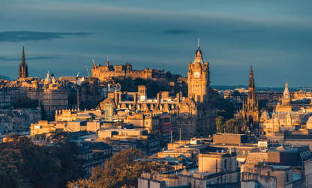 Edinburgh city skyline from Calton Hill., United Kingdom