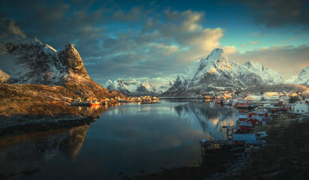 sunrise in Reine Village, Lofoten Islands, Norway 写真素材