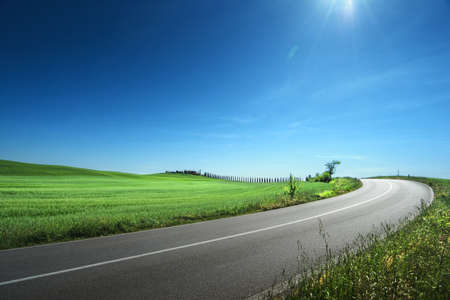 asphalt road in Tuscany Italy