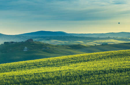 tuscany lanscape, sunset time, Italy