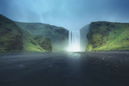 Skogafoss waterfall, summer time, Iceland
