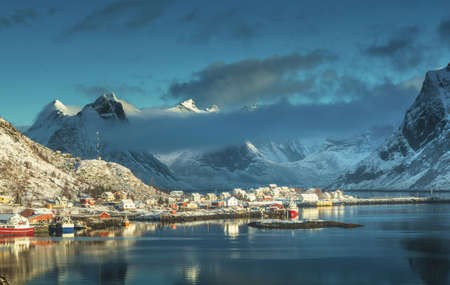 snow in Reine Village, Lofoten Islands, Norway 写真素材