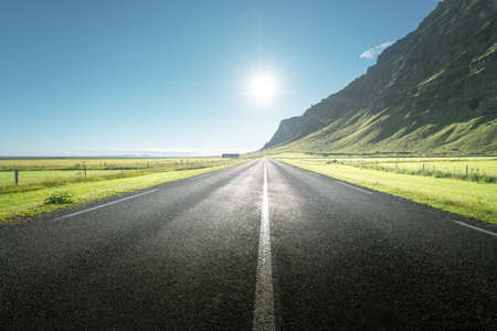 sunny road in summer Iceland