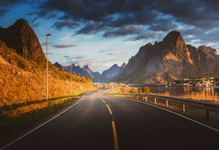 road by the sea, Reine, Lofoten islands, Norway