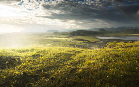 view from mountain, summer sunset, Iceland 写真素材