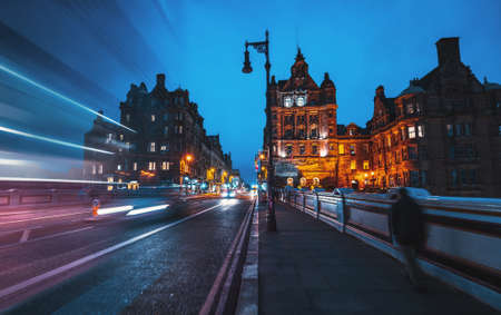 Streets of Edinburgh, Scotland, at night, UK 写真素材