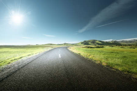 road in summer sunny Iceland