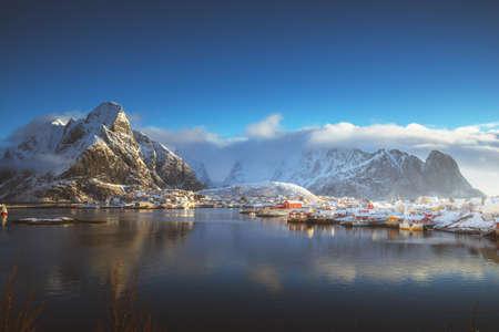 snow in Reine Village, Lofoten Islands, Norway Reklamní fotografie