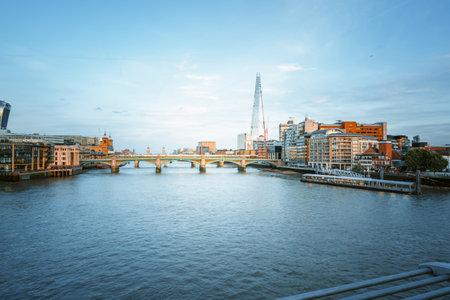 sunset over the London skyline, view from Millenium Bridge, UK