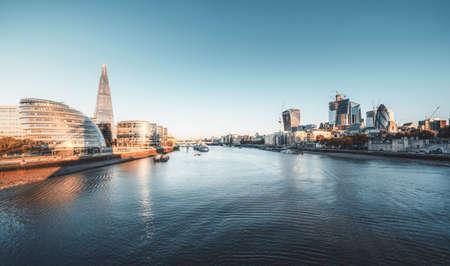 morning in London, river Thames from Tower Bridge, UK Reklamní fotografie - 167348801