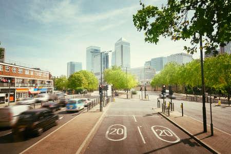 road to Canary wharf, London, UK