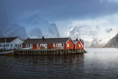 Hamnoy fishing village, misty spring time, Lofoten Islands, Norway