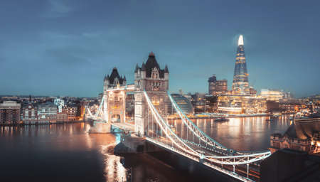 Aerial view to the Tower Bridge and skyline of London, UK Reklamní fotografie - 167348828