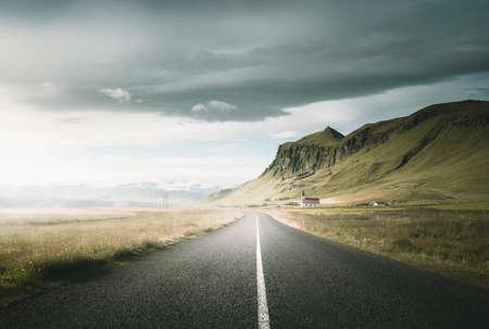 Icelandic landscape with asphalt road Reklamní fotografie