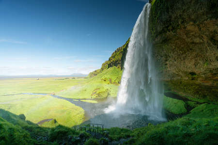 Seljalandfoss waterfall in summer time, Iceland