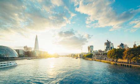 London skyline from Tower Bridge, UK Stock Photo