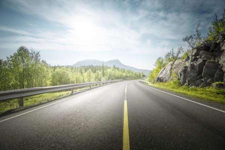 summer road in mountain, Lofoten islands, Norway Reklamní fotografie