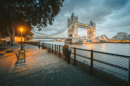 Tower Bridge in London, UK, at sunset