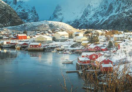 snow in Reine Village, Lofoten Islands, Norway 版權商用圖片