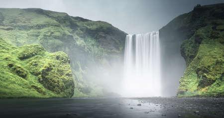 Skogafoss waterfall, summer time, Iceland