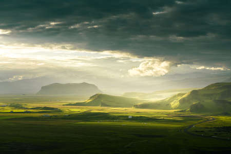 view from mountain, summer sunset, Iceland Reklamní fotografie