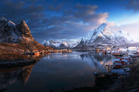 sunrise in Reine Village, Lofoten Islands, Norway Reklamní fotografie