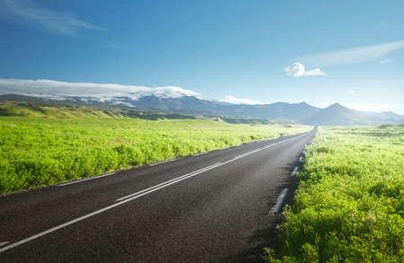 road in summer sunny Iceland Foto de archivo