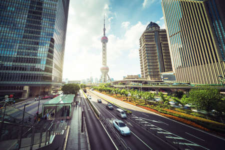 road in Shanghai Lujiazui financial center, China Reklamní fotografie - 167354382