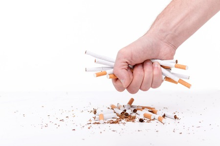 No smoking. Close up of hand of man breaking cigarettes. Isolated on background