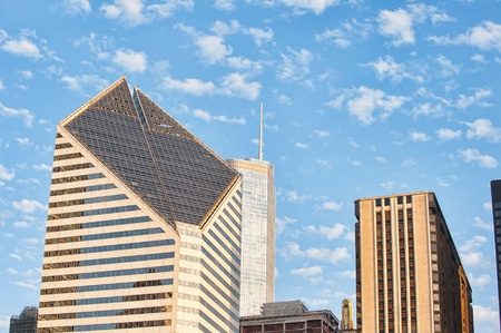 edifices: Smurfit-Stone Building in Chicago. This office building is surrounded by another beautiful edifices Stock Photo