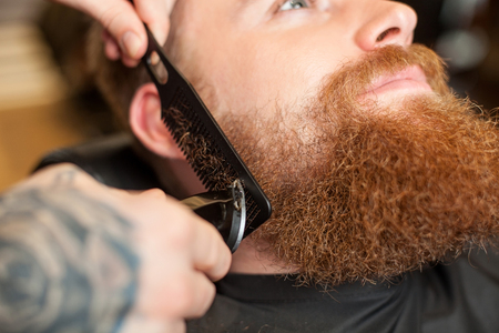 hair clippers: Close up of hands of professional hairdresser cutting and combing human beard. He is holding an electric razor and a comb. The young man is sitting with relaxation
